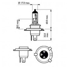 Лампа h4 60/55w p43t-38 premium (30% extra light)